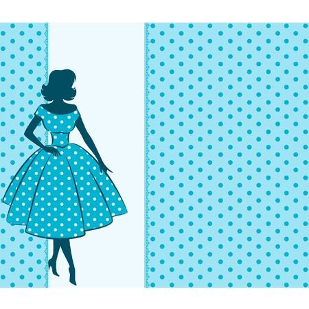 女の子のビンテージ シルエット  イラスト・ベクター素材