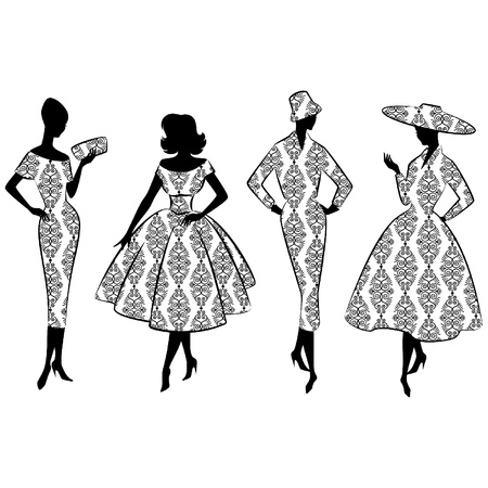 Vintage silhouette of girl Vector
