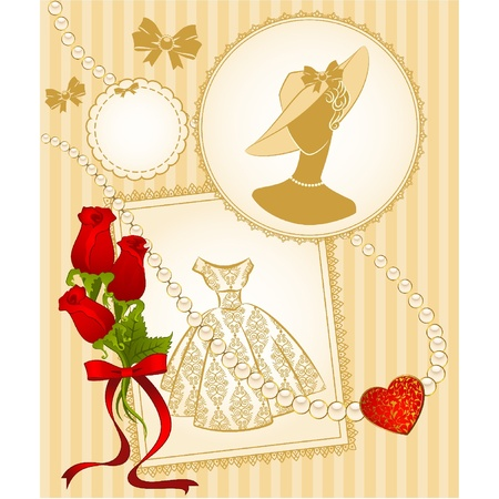 Vintage fashion background with flowers and girls.  Vector