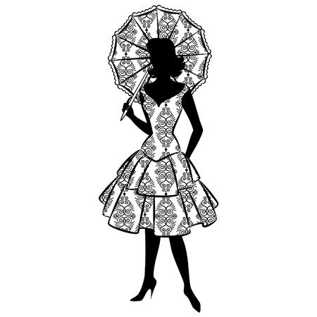 classic woman: La silueta de la vendimia de ni�a con paraguas Vectores