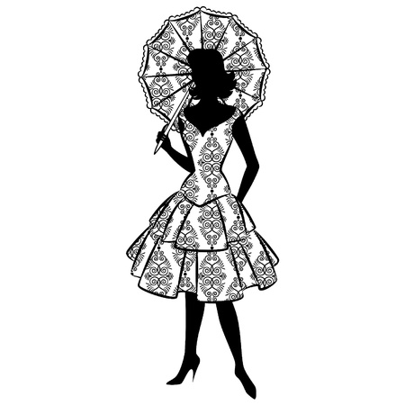 woman with umbrella: Vintage silhouette of girl with umbrella