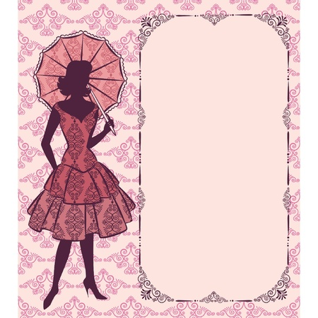 Vintage silhouette of girl with umbrella