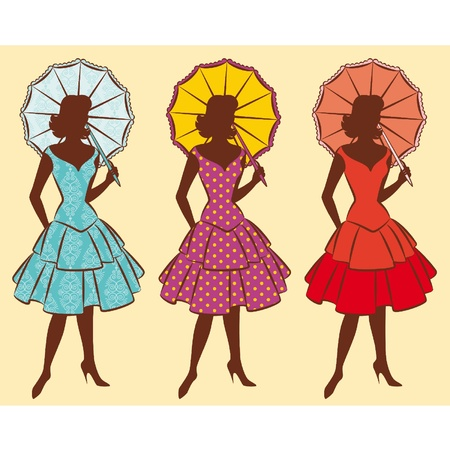 female silhouette: Vintage silhouette of girl with umbrella