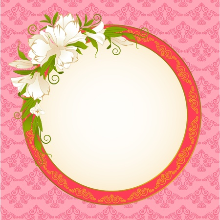Vintage pink background with white flowers. Vector