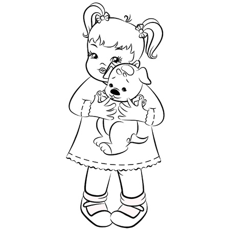 Vintage cartoon little girl with puppy. Vector