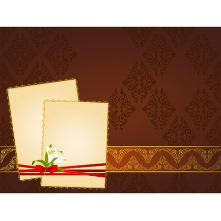 Beautiful background with frames in lace ornaments and bow. Vector Vector