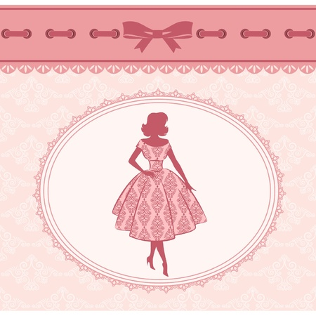 レトロな背景の上の少女のヴィンテージのファッション シルエット。ベクトル