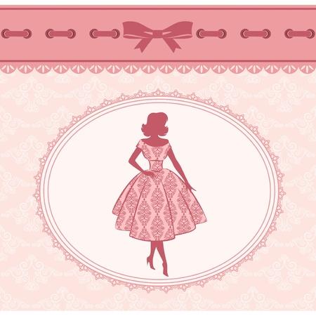 doilies: Silueta de moda vintage de chica sobre fondo retro. Vector Vectores