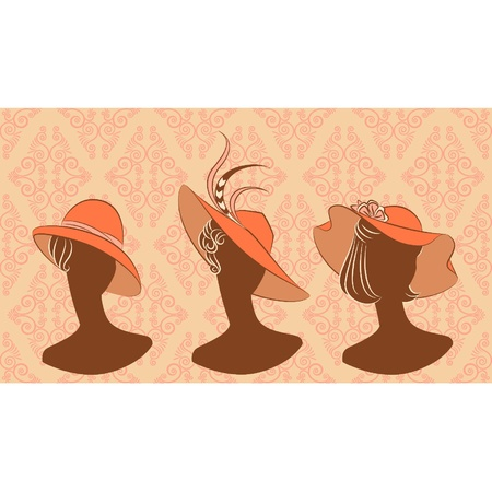 Vintage silhouette of girl in hat on tapestry background. Vector