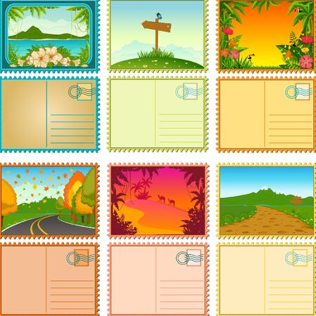 Beautiful Landscape with tropical plants. Blank Postcard set Stock Vector - 10729681