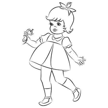 Vintage cartoon little girl with flower Stock Vector - 10728338