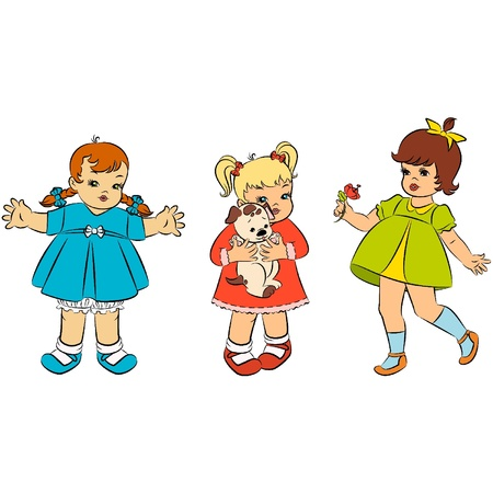 Vintage cartoon little girls. Stock Vector - 10729620