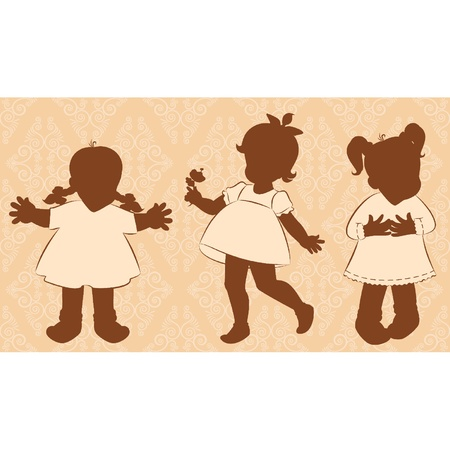 Vintage cartoon little girls. Vector