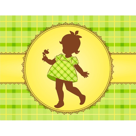 Vintage cartoon little girl. Vector