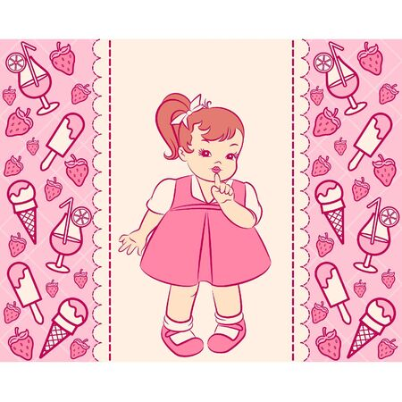 Vintage cartoon little girl in dress with a sweetness Vector
