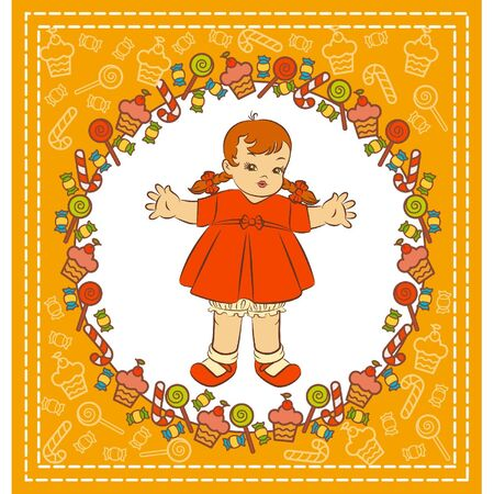 Vintage cartoon little girl in dress with a sweetness. Vector Stock Vector - 10728369