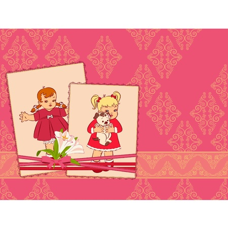 Vintage cartoon little girls on the ornate background. Vector Vector