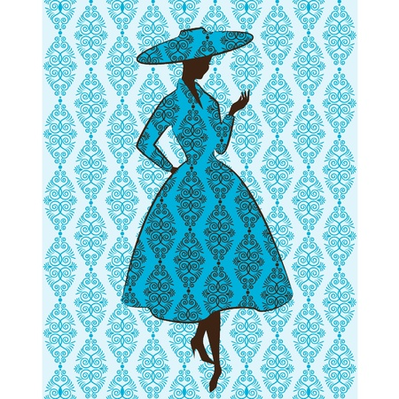 rich girl: Vintage silhouette of girl in hat
