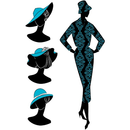 Vintage silhouette of girl in hat Stock Vector - 10729632