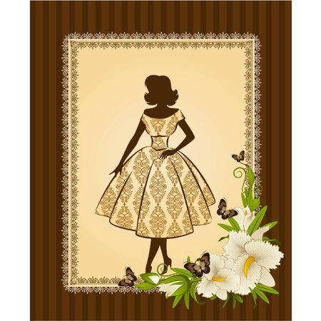 Vintage fashion background with flowers and girl. Vector