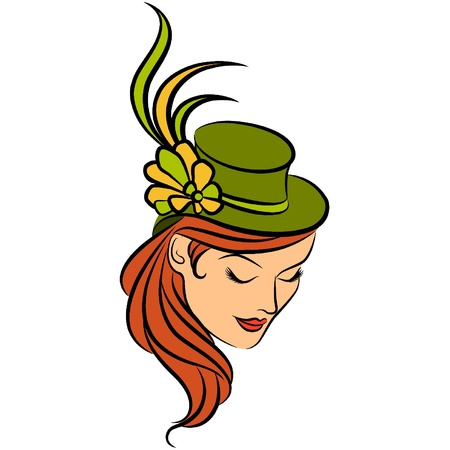 Vintage silhouette of girl in hat Stock Vector - 10728255