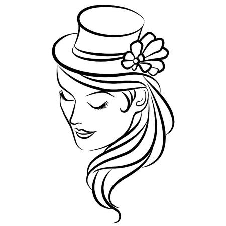 classic woman: Vintage silueta de ni�a con sombrero de Vectores