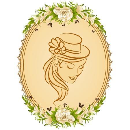 classic woman: Fondo Vintage con silueta de mujer con sombrero y flores. Vector Vectores