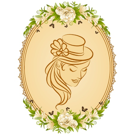 Vintage background with silhouette of girl in hat and flowers. Vector Illustration