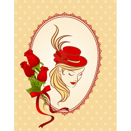 Vintage background with silhouette of girl in hat and flowers. Vector
