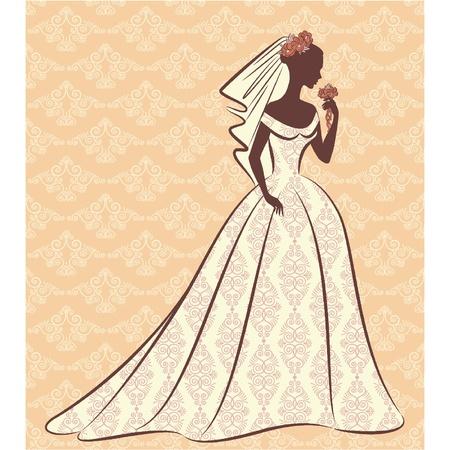 Jahrgang Silhouette der schönen Braut im Kleid.