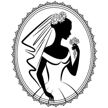 Vintage silhouet van mooie bruid in jurk.