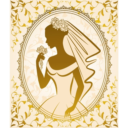 bridal veil: Vintage silhouette of beautiful bride in dress. Illustration