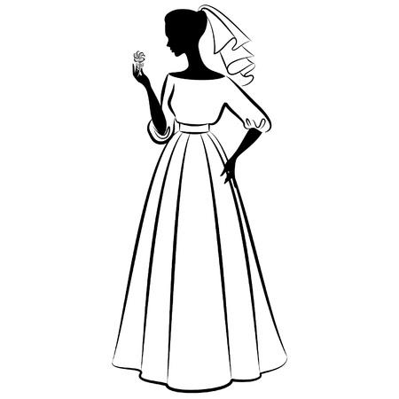 Vintage silhouette of beautiful bride in dress. Vetores