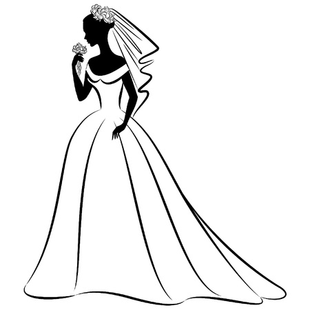 bride veil: Vintage silhouette of beautiful bride in dress. Illustration