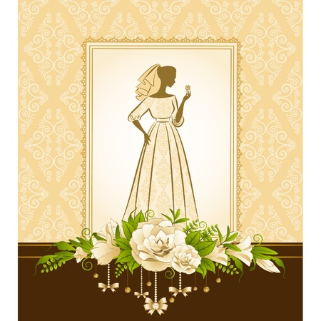 Vintage silhouette of beautiful bride in dress. Stock Vector - 10729673