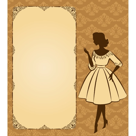 Vintage silhouette of girl on tapestry background Ilustrace