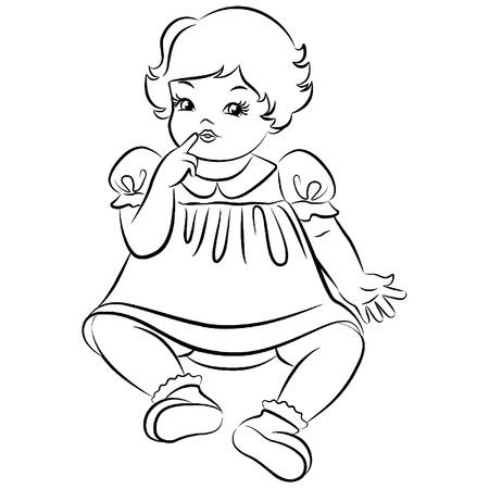 Vintage cartoon little girl. Stock Vector - 10729562