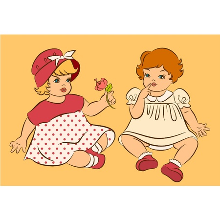 Vintage cartoon little girl with flower Vector