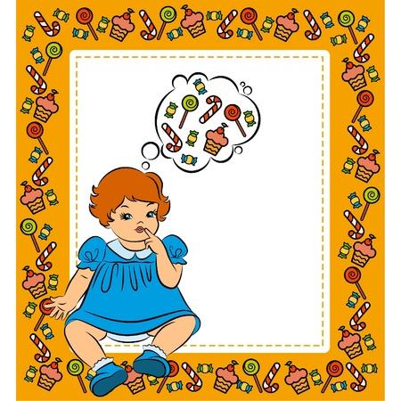 sweetness: Vintage cartoon little girl with a sweetness Illustration