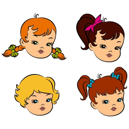 Vintage cartoon little girls. Stock Vector - 10729564