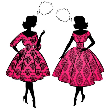 Vintage silhouette of girls. Stock Vector - 10729643