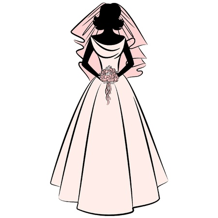 silhouette of bride: beautiful bride in dress Illustration