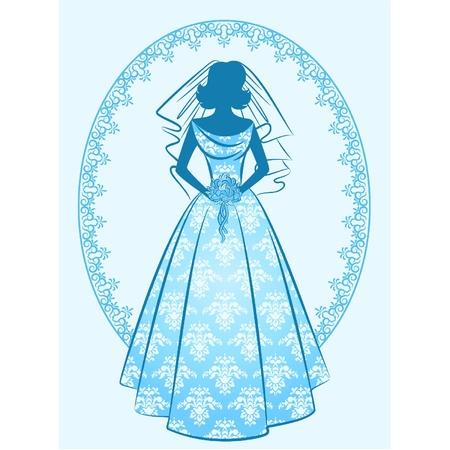 Jahrgang Silhouette der schönen Braut im Kleid. Vektor Vektorgrafik