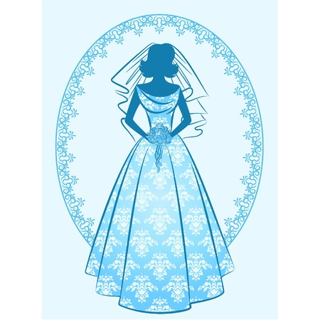 bridal veil: Vintage silhouette of beautiful bride in dress. Vector Illustration