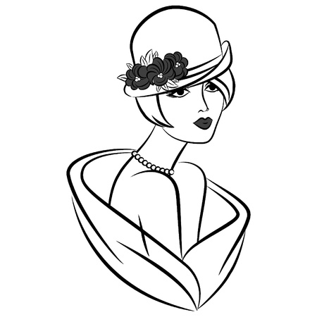 Vintage silhouette of girl in hat. Vector