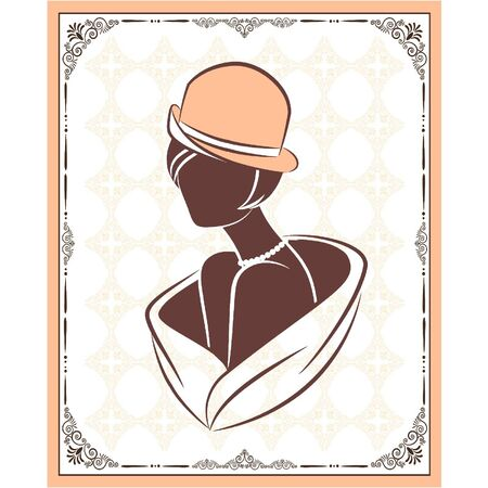 Vintage silhouette of girl in hat. Vector Vector