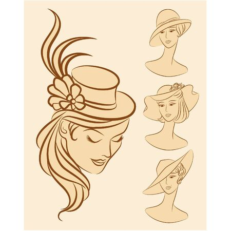 Vintage fashion girl in hat. Stock Vector - 10729553