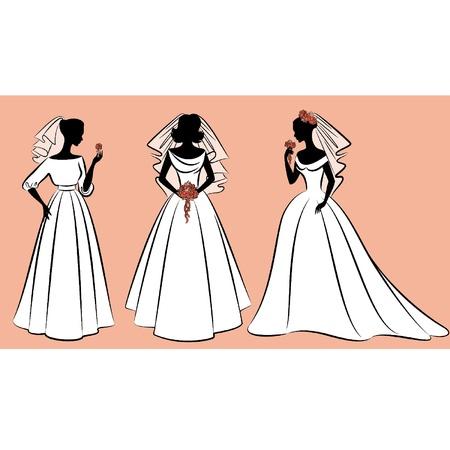 Schöne Bräute in der Kleidung. Vector Set
