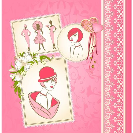 Vintage silhouette of girls on tapestry background with flowers. Vector