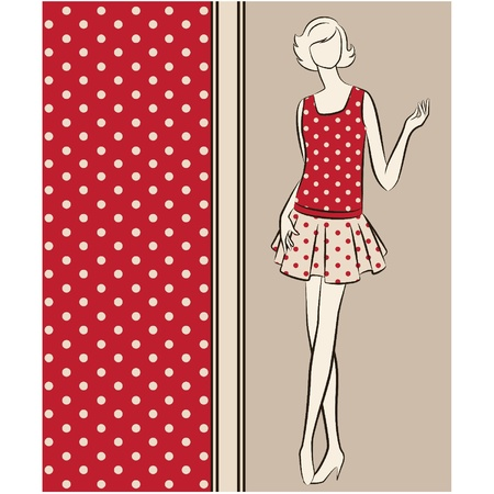 fashionable girl: Vintage silhouette of girl on tapestry background.